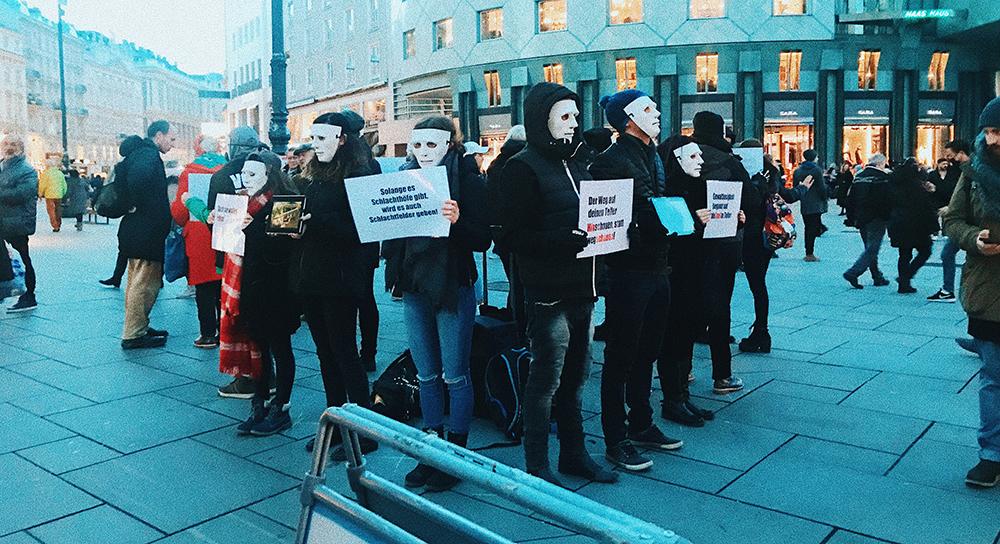 Manifestación pro-veganismo en Viena.