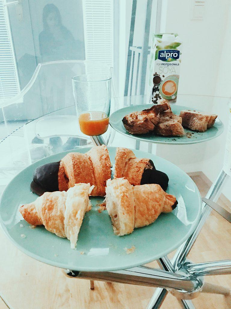 Desayuno vegano del día siguiente.