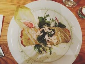 Rollito vegetal con bechamel, Opciones veganas en Edimburgo.