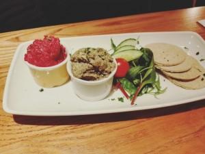 Patés veganos, entrantes. Restaurantes veganos en Edimburgo.