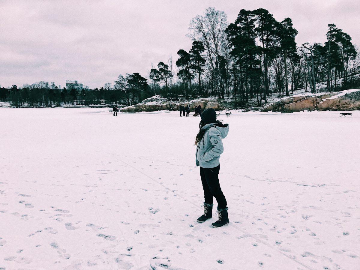 Lago hasta Seurasaari helado, Helsinki. Cosas que hacer de viaje.