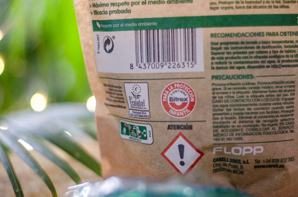 Eco Label del detergente para la ropa ecológico y vegano.