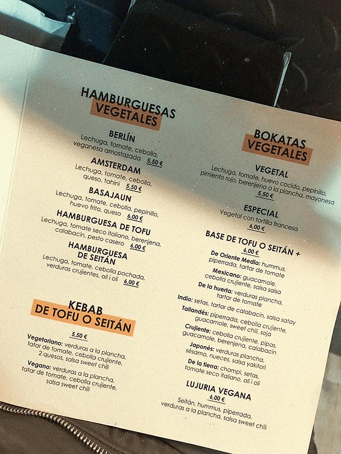 Menú vegetariano y vegano de La Muga, bar de Bilbao.
