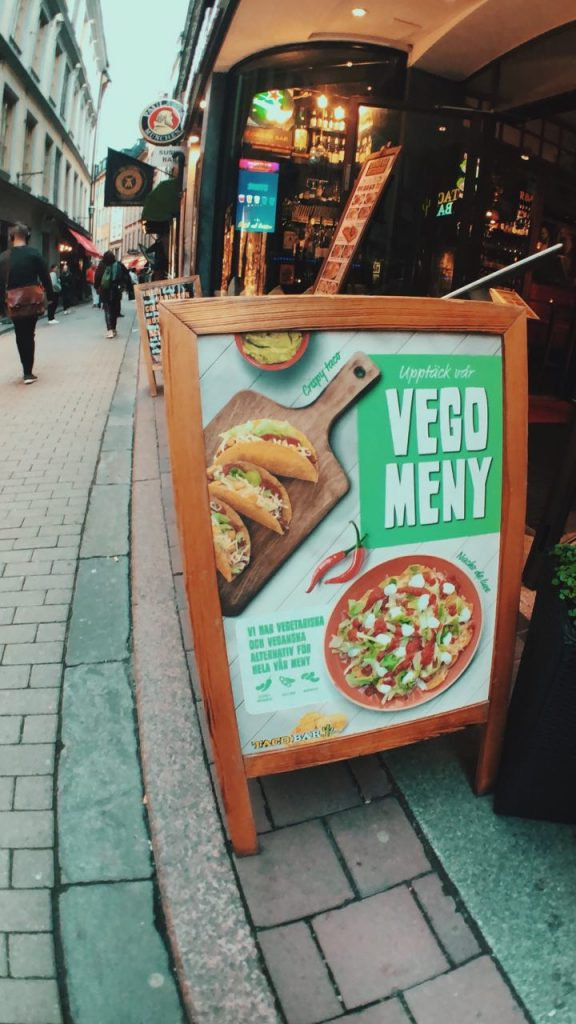Menú vegano en el Bar de Tacos de Estocolmo.