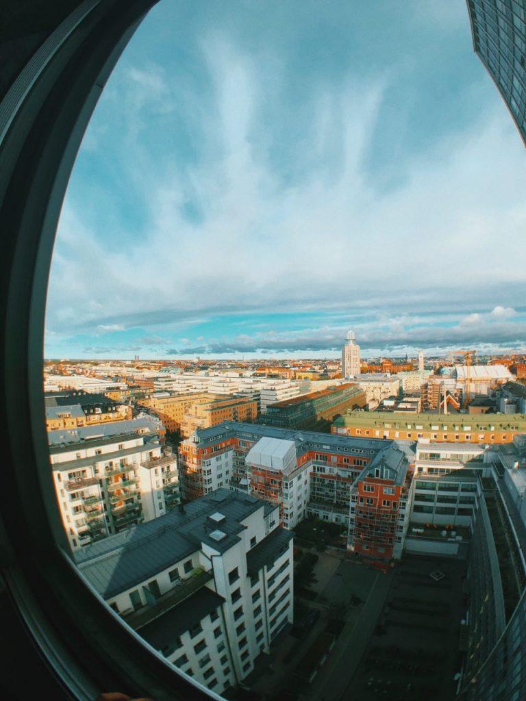 Vistas desde el apartamento de Estocolmo. Viajar por Estocolmo.